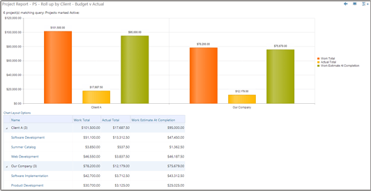 Budgeting vs Actual Report with Bar Chart and Table View